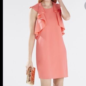 BCBG Ruffle-Shoulder Racerback Dress